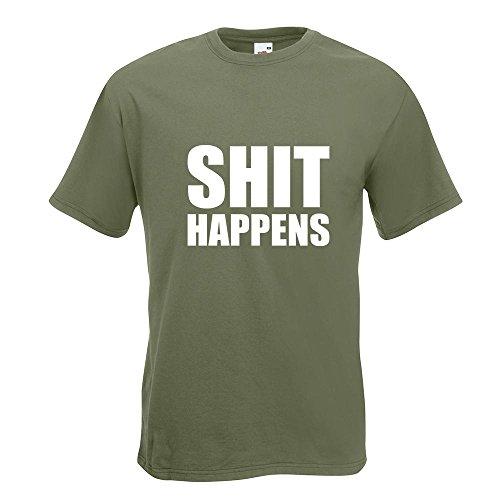 KIWISTAR - Shit Happens T-Shirt in 15 verschiedenen Farben - Herren Funshirt bedruckt Design Sprüche Spruch Motive Oberteil Baumwolle Print Größe S M L XL XXL Olive