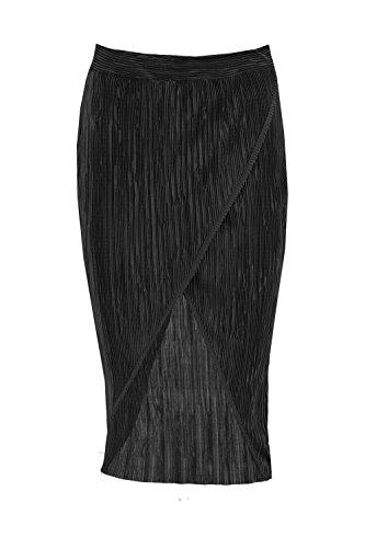 Schwarz Damen Liberty Plissierter Midirock Mit Wickelfront Schwarz