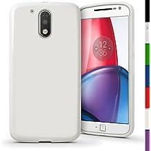 igadgitz Sólido Blanco Lustroso Funda Carcasa Gel TPU para Motorola Moto G 4ª Generación XT1622 (Moto G4) & Moto G4 Plus XT1644 Case Cover + Protector Pantalla