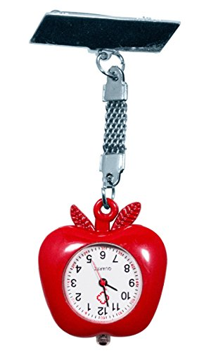 Ellemka JCM-1001 - Modische Schwesternuhr Clip zum Anstecken FOB Kittel Krankenschwester Pflege-r Quarz Puls-Uhr Taschen Ansteck-Nadel Fashion Design Trend Apple Shape - Rot Red