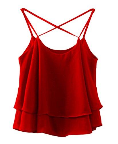 Smile YKK Top Crop Femme Mousseline de Soie T-shirt Sans Manche Chemise Courte Blouse Plage Casual Eté Rouge