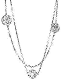 34052dacf2f2 FIONAT Collar Accesorios para Mujeres Cadena De Suéter De Múltiples Capas  De Aleación Redonda Rhinestone Creativo