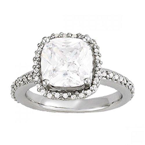 Lilu Jewels platiniert 925Sterling Silber Cute Kissen & rund Cut CZ Solitaire mit Akzenten Schöner Verlobungsring für Mädchen & Frauen (X 1/2) -