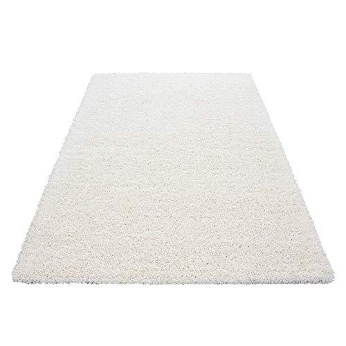 Hochflor Shaggy Teppich für Wohnzimmer Langflor Pflegeleicht Schadsstof geprüft 3 cm Florhöhe Oeko Tex Standarts Teppich, Maße:60x110 cm, Farbe:Creme