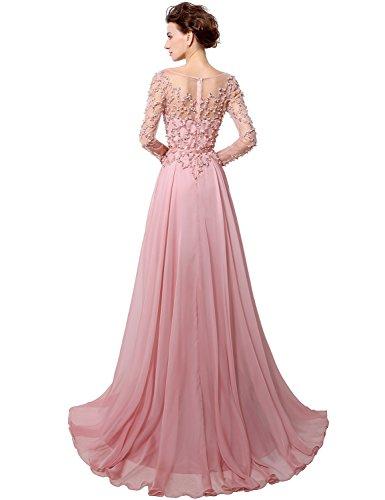 Sarahbridal Damen Lang Chiffon Ballkleid Langarm Partykleider Perlen  Paillette Abendkleider SLX051 Koralle