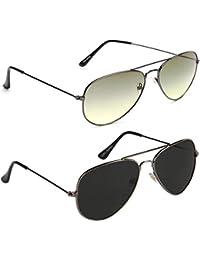 Xforia Uv Protected Fashion Round& Aviator Sunglasses For Men & Women Combo Of 2 (DX-FLX- 420 | Green&black |...