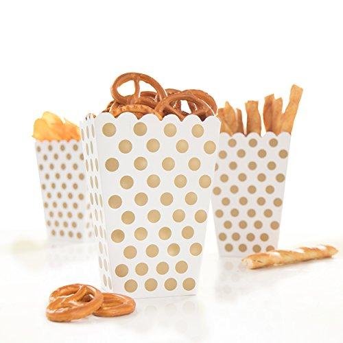Tüte Happy Dots weiß mit goldenen Punkten - wunderschöne Boxen mit Punkten perfekt für Snacks, Süßigkeiten & Geschenke ()