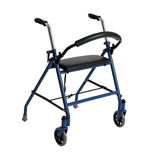 Drive Medical 1239BL Two Wheeled Walker with Seat