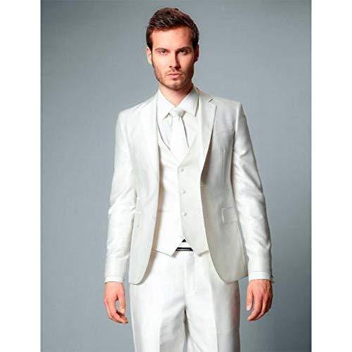 Weiß 3 Stück Anzug (GFRBJK Elfenbein Bräutigam Smoking Mann Anzüge Männer Hochzeit Smoking 3 Stück Anzüge Business Prom Made Anzüge , Weiß , S)