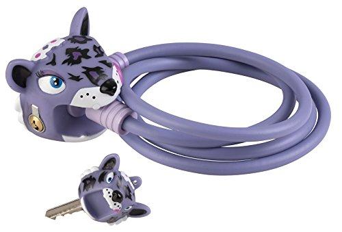 Fahrradschloss Kind 3-7 - Crazy Safety - Leopard Wildkatze, violett
