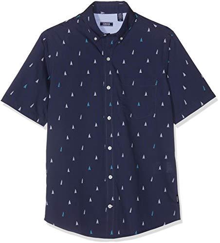 Izod Herren Freizeithemd Sailboat Print BD SS Shirt Blau (Peacoat 403) Medium (Herstellergröße: MD) -