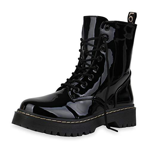 SCARPE VITA Damen Worker Boots Leicht Gefütterte Stiefeletten Plateau Stiefel Schnürer Lack Schuhe Profilsohle Schnürstiefeletten 186985 Schwarz Lack 39