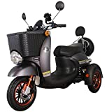 Black 3 Wheeled Retro Style Electric Mobility Scooter with Front Basket 500W 60V100ah GreenPower