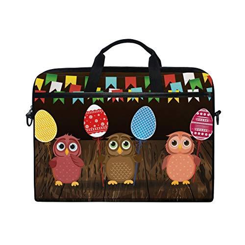 Ahomy Laptop-Tasche, für 14-14,5 Zoll Laptops, süße Cartoon-Eulen, Holz, Mehrfarbig, multifunktional, Stoff, wasserdicht, mit Schultergurt -
