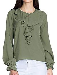b3d27f554e VJGOAL Mujeres otoño Casual Moda Gasa Camiseta de Color sólido Office  Ruffle Manga Larga Blusa Top