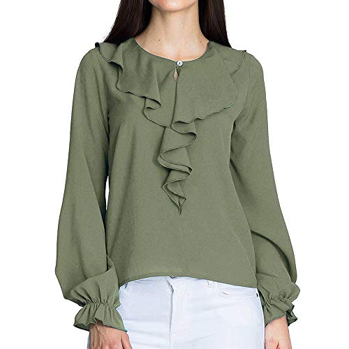 Clearence!!!Sonnena Fashion Women Chiffon Solid Crewneck Shirt Ladies Casual Elegant Office Solid Button Ruffle Lantern Sleeve Long Sleeve Daily Blouse Top Shirt