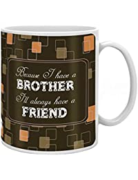 Indigifts Bro is a friend Quote Printed Gift Set of Ceramic Mug (330 ml) with Crystal Rakhi for Brother, Roli and Greeting Card