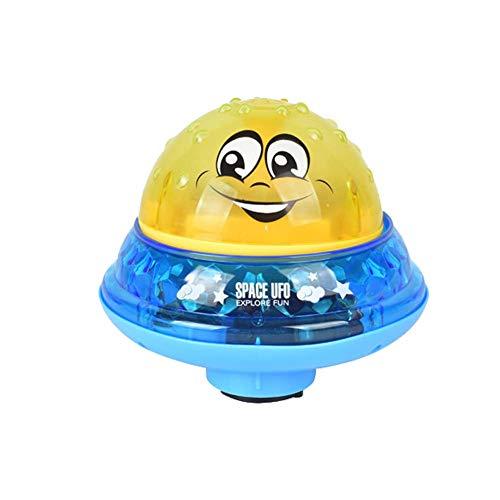 Matedepreso Kinder Elektrisch Spray Ball Dusche Badewanne Spielzeug Wasser Spritzer Ball Spielzeug mit Licht für Kinder Baby Bade Spielzeug Sommer Pool Spielzeug - Gelb, with Base (Badewanne Spielzeug Ball)