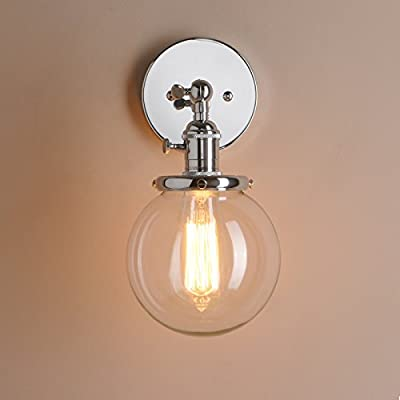 Pathson 15cm Industrial Vintage Clear Glass Globe Retro Sconce Wall Light Lamp Fixture produced by Pathson - quick delivery from UK.