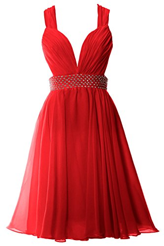 MACloth Women Straps V Neck Chiffon Short Prom Party Dress Sexy Formal Gown Rot