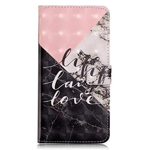 """iPhone XS Handytasche EDAROO Flip Case für iPhone X 5,8"""" Eleganter Rosa Schwarz Geometrisch Marmor Motiv 3D Glitzer PU Lederhülle Brieftasche Magnetverschluss Ständer Handyschale Schutzhülle"""