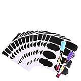 Afufu Tafel Aufkleber 112 Stück Wiederverwendbar Wasserdicht Tafel Sticker mit Kreidemarker für Gläser, Flaschen Speisekammer, Craft Rooms und Schränke