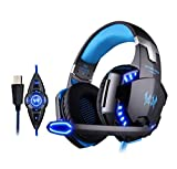 Juego de auriculares auriculares con cable, PS4 Xbox One, apta para laptop, PC, Mac, iPad, smartphone, Stereo Surround de eliminación de ruido, luz LED con control de volumen de micrófono,Azul