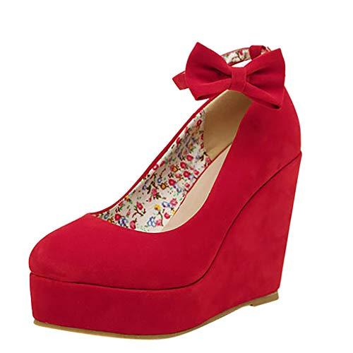 Sandalo gioiello con taccoscarpe con zeppa da sposa con plateau e punta larga(rosso,35)