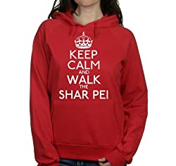 Keep calm and walk the Shar pei womens hooded top pet dog gift ladies Red hoodie white print
