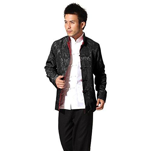 BOZEVON Herren Reversibel Beide Seiten Mantel Jacke Tang-Anzug Chinesisch Traditionell Lange Ärmel Kampfkunst Kung FU Hemd (Bekleidung Chinesische)