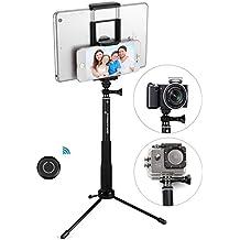 Bastón de BGE Incluso telescópico y teléfono de/cámara trípode, doble universal de clips y Bluetooth integrada de disparador remoto para iPhone y Android y tablet