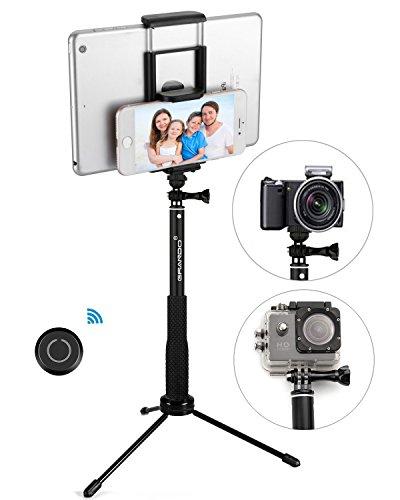 GRANDO Selfie Stick, 2 in 1 Stick, Selfie-Stick, mit Bluetooth Fernauslöser , für jedes Smartphone und Tablet, mit Stativ und Dreibein
