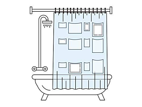 SPRALLA Smart Duschvorhang mit Taschen für Tablets und Smartphones, 183 x 183 cm