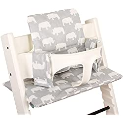 Cojín para Stokke TrippTrapp - Plastificado - Gris con rinocerontes ♥♥♥