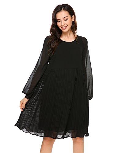 Beyove Damen Langarm Chiffon Kleid Abendkleid Plissee Kleid Wickelkleid Sommerkleid Freizeitkleid Partykleid Chiffonkleid Knielang