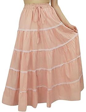 Bimba larga para mujer flaired algodón falda de Boho Maxi Faldas elásticos de la cintura vestido de la India