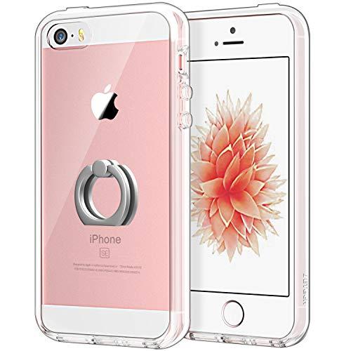 JETech Hülle für Apple iPhone SE iPhone 5s iPhone 5, Schutzhülle mit Anti-kratzt Transparente und Rückseite, Rotierendem Ring Fingerhalterung Ständer, HD Klar