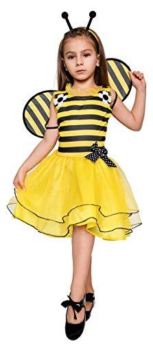 Magicoo süßes Bienenkostüm Kinder Mädchen - Biene Kostüm Kinder inkl. Kleid, Fühler & Flügel (122/128)