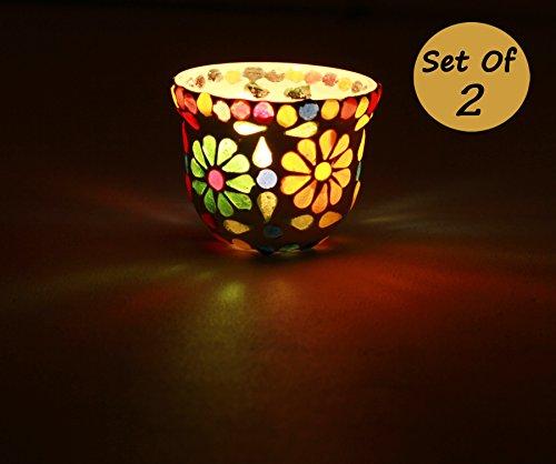 n - Set aus 2 Glas Teelichthalter, Mosaik bunt Teelichtgläser, Kerzenhalter, Teelicht, Dekorative Kerzen Halter Vase, 7.6 cm (Weihnachten Dekorationen Verkauf)