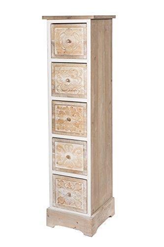 Fünf Schubladen Schrank (Kommode Schrank weiß braun mit fünf Schubladen *474)