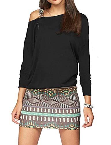 T.Mullen Mujer Mini Vestidos Casual Manga Larga Cuello Redondo Bodycon Vestido Negro XL