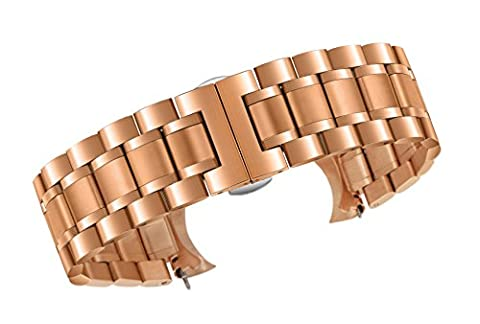 20mm Luxury Metal Watch Straps Solid Rose Gold Stainless Steel Heavy Type with Both Curved and Straight Ends Oyster