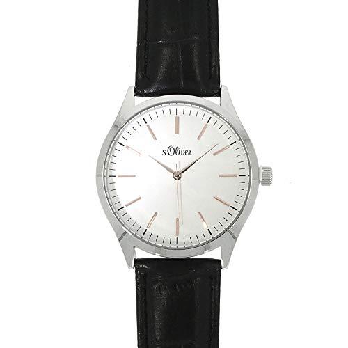 s.Oliver Herren-Armbanduhr Analog Quarz Leder SO-15143-LQR