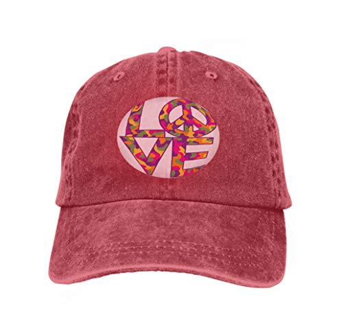 Men's Baseball Caps Fashion Adjustable Sandwich Cap camo Love Peace Retro Colors Text Design Symbol Camouflage p red