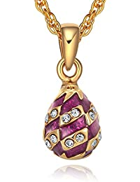TF Charm Mini Musikspieluhr Fabergé-Eier Anhänger Halskette 45,7cm mit Swarovski Kristallen Elements