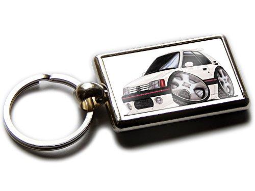 Peugeot 205 GTI KOOLART porte-clés chromée de qualité officielle Sport à hayon Tableau deux côtés Choisissez une couleur., White & Black Trims