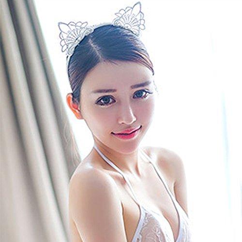tpocean Sweet schwarz weiß Spitze Katze bunny Ohren Stirnband Sexy Haarband Spannreifen Frauen Mädchen Make-up mit Kopfbedeckungen für den täglichen Cosplay Kostüm Party