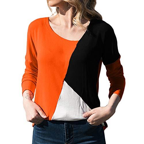 Blusa Moda Patchwork Casual para Mujer Color Block O-Neck Manga Larga Camiseta Tops ❤️ Manadlian (Naranja, S)