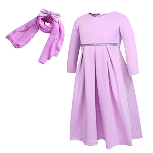BURFLY Kleinkind Mädchen Ramadan Muslim Dubai Robe Traditionelles Kleid Langarm Kleid Arabisches Kopftuch Set