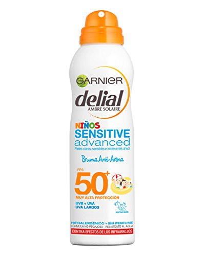 Garnier Delial Sensitive - Spray Antiarena para Niños, SPF50, 200 ml